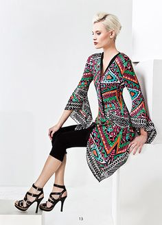Tunic with graphic pattern Graphic Patterns, Tunic, Dresses With Sleeves, Spring, Long Sleeve, Fashion, Moda, Robe, Long Dress Patterns