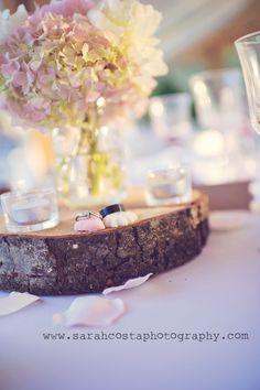 Wood slice centerpiece. Hydrangea and peonies.