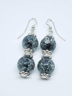 Black Crackle Glass Dangle Earrings by RoxiesJewelryBox on Etsy