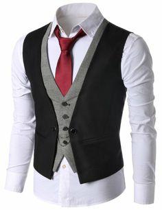 Amazon.com: Doublju Mens Casual Slim Fit Checks Vest: Clothing