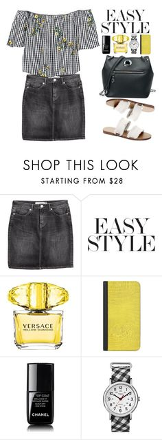 """""""Casual"""" by beebeely-look ❤ liked on Polyvore featuring Versace, Casetify, Chanel, Timex, casual, sammydress, offshoulder, blackdenim and showsomeshoulder"""
