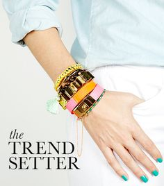 Stacked Bracelets The Trendsetter gold & gray jewelry on Who What Wear