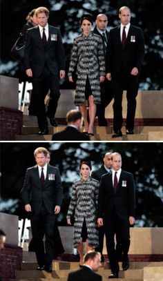 The Duke and Duchess of Cambridge and Prince Harry attend part of a military-led vigil to commemorate the 100th anniversary of the beginning of the Battle of the Somme at the Thiepval memorial to the Missing in June 30, 2016 in Thiepval, France.