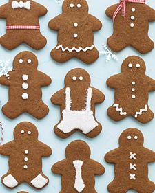 """Martha says, """"There is perhaps no more highly anticipated (and delicious) holiday task than baking cookies. Here is a selection of our best Christmas cookies and prettiest packaging ideas. Holiday Baking, Christmas Baking, Spice Cookies, Ginger Cookies, Man Cookies, Baking Cookies, Molasses Cookies, Chocolate Cookies, Cookies Et Biscuits"""