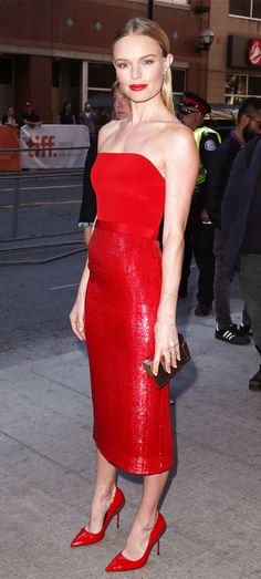 Kate Bosworth dons a BOSS custom dress and Kurt Geiger London Britton Pumps. // #Celebrity #AllRed