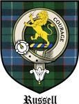 Russell Clan Crest / Tartan / Russell Clan Badge • Robert Russell, 7th GG from Sorn, Ayr, Scotland