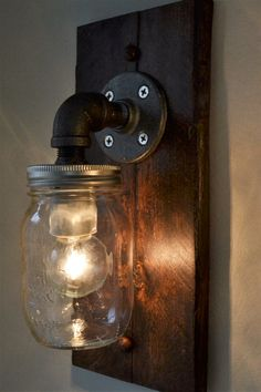 Industiral Wall Light - Wall Sconce - Steampunk Light - Old Light - Pallet Wood Light -Industrial Light by BLRdesign on Etsy Pipe Lighting, Wall Sconce Lighting, Wall Sconces, Diy Tile Backsplash, Wood Pallets, Pallet Wood, Industrial Wall Lights, Old Lights, Window Frames