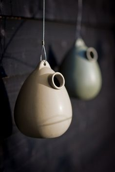 Hanging Ceramic Birdhouse in Clay at Garden Trading