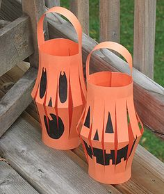 Paper lanterns are fun to make, a perfect as inexpensive party decorations, and are easy enough for kids to put together. These paper lanterns are decorated to look like Halloween Jack-O-Lanterns and are perfect for decorating for this festive holiday.