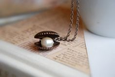 The Vintage Sea Clam and pearl dainty necklace