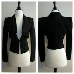 BCBGMaxazria Black Tiered Collar Blazer Like new. Perfect condition. Worn once. Padded shoulders. Clasp closure at front. Size XXS.   Freshly dry cleaned BCBGMaxAzria Jackets & Coats Blazers