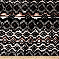 Ikat Diamond Span Jersey Knit Black/Blush from @fabricdotcom  This stretch rayon jersey knit fabric has an ultra soft hand and a four-way stretch with 40% stretch across the grain and 30% vertical stretch. This versatile fabric is perfect for creating stylish tops, tanks, gathered skirts and fuller dresses with a lining. Colors include black, white, blush and brown.