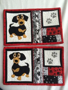 Pinned the Dachsy pic from Flavra_sm1963 board and created a mug rug pattern for my sister-in-law and niece. Original pic was from Retirado Da Net on Flickr.                                                                                                                                                                                 More