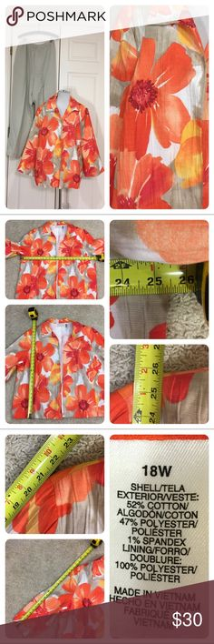 Alfred Dunner Pants (nwt) and jacket. Pretty floral jacket and solid pants from Alfred Dunner. Pants are new with tags. Elastic waist, side pockets and proportion short. Jacket is open front with no sign of wear - guessing new without tags. Sized 18W. Alfred Dunner Jackets & Coats