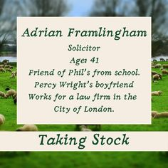 Taking Stock: Adrian Framlingham ⁠ Adrian is Phil's best friend. He's 42, he's a solicitor, he lives with his boyfriend, Percy. ⁠ booksread.com/takingstocklester or link in bio ⁠ #TakingStock #Historical #1970s #Farmer #Stockbroker #RuralEngland #BritishRomance ⁠