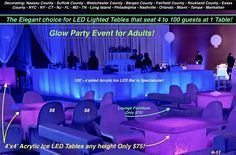 Elegant Light Up Table & Bar Rental & Glow Party Decor Planner! Lower prices & a better product! Compare our website photos with guests to any other! We win. Special Events, Weddings, Sweet 16s, Bat Mitzvah, Convention & Corporate Event Party Decor. Free decor planning! Nassau County, Suffolk County, Westchester County, Bergen County, Fairfield County, Rockland County, Essex County, NY, NYC, NJ, CT, DC, MD, TN, FL, Long Island, Manhattan, Nashville, Greenwich, Orlando, Tampa, Miami… Glow Table, Light Table, Uv Black Light, Light Up, Essex County, Suffolk County, Bergen County, Chandelier Centerpiece, Disco Theme