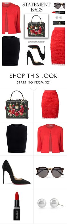 """""""Carry On: Statement Bags"""" by lgb321 ❤ liked on Polyvore featuring Dolce&Gabbana, Givenchy, Mother of Pearl, D.Exterior, Christian Louboutin, Illesteva, Smashbox, Chanel and statementbags"""