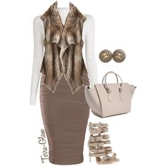Too Much Taupe by terra-glam on Polyvore featuring polyvore fashion style A.L.C. Calypso St. Barth Giuseppe Zanotti Chanel