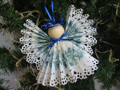 Angel Christmas Ornament Blue Floral Paper Lace by SnowNoseCrafts
