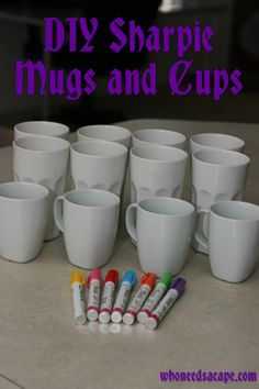 Sharpie Ceramic Mugs and Cups DIY sharpie mugs and cups - Full instructions and recommendation on which Sharpies to use.DIY sharpie mugs and cups - Full instructions and recommendation on which Sharpies to use. Sharpie Paint Pens, Sharpie Crafts, Diy Sharpie Mug, Sharpie Projects, Sharpies On Mugs, Paint Markers, Mug Decorating Sharpie, Decorating Cups, Sharpie Designs