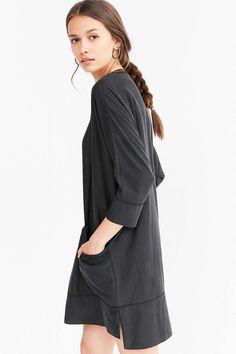 Silence + Noise Kaden Woven Black Cocoon Mini Dress