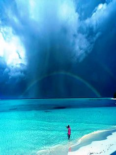 A beautiful rainbow after the rain,  Palawan Islands, Philippines