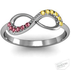 Infinity Accent Ring. His and hers birthstones, and engraved anniversary date.