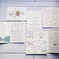 Scottish wedding stationery with custom map, hand stitched information booklets and highland cattle www.lucysaysido.com