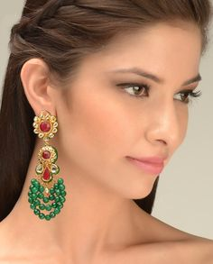 Kundan Earrings with Green Beaded Embellishments