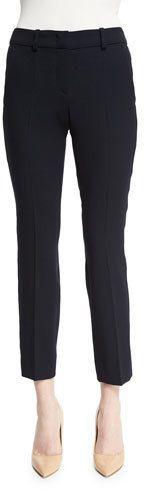 Armani Collezioni Slim-Leg Stretch-Wool Ankle Pants, Navy Blue