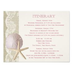 Starfish and Sand Dollar Vintage Beach Personalized Invite