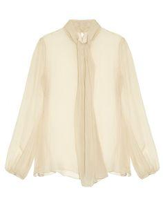 Alexander McQueen Neck-tie long-sleeved silk blouse