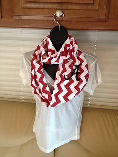 University of Alabama Crimson Red and White Chevron Infinity Scarf Roll Tide