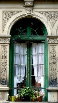emerald painted windows on ecru.