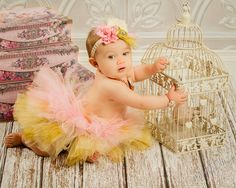 Pink Gold Unique Layered Full Tutu Tulle by MalishkaBoutique