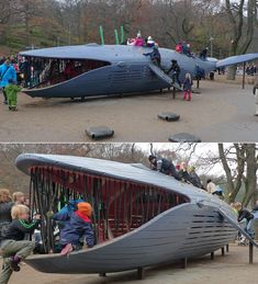 Very cool whale themed, kids playground.