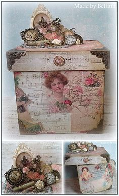 Altered box made with scrapbook papers and embellishments ~ Scrap-Unlimited Mais Altered Cigar Boxes, Altered Tins, Altered Bottles, Altered Books, Altered Art, Shabby Chic Boxes, Shabby Chic Stil, Shabby Chic Crafts, Shabby Vintage