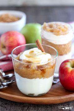 Homemade Applesauce and Yogurt Parfaits - Homemade applesauce flavored with…