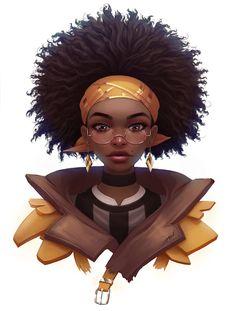ArtStation - trying afro hair, Rafa ArSen Black Girl Cartoon, Black Girl Art, Black Women Art, Black Girl Magic, Male Character, Character Portraits, Character Ideas, Afro Hair Drawing, Art Couple