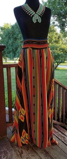 Cowgirl gypsy skirt serape stripe Maxi Western Boho MEDIUM southwest aztec #elizabeths #Maxi