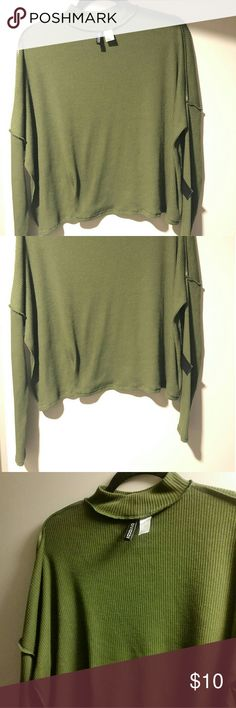 Olive H&M long sleeve top Medium size. In style wore a few times. Goes great with black pants. Loose fitting. H&M Tops
