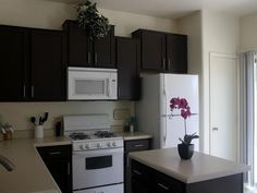 Painted Black Kitchen Cabinets dark kitchen cabinets and white appliances not bad! | for the