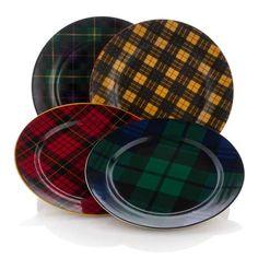 Jeffrey Banks Plaid Tidins Set of 4 Dessert Plates, $29.95
