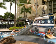 Relax while the kids playfully enjoy the Pirate Ship Pool, before heading to the nearby beachside playground. #WestinKaanapali #Maui