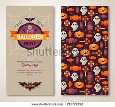 Halloween two sides poster or flyer. Vector illustration. Halloween party invitation. Place for your text message. Halloween menu design. - stock vector