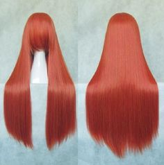 Deep Orange Synthetic Long Silky Straight Cosplay Party Lady's Hair Full Wig