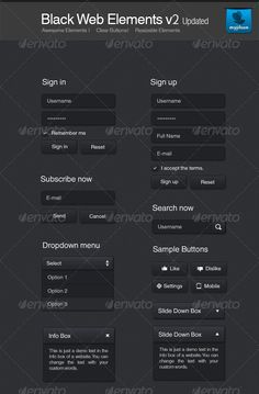 Black Web Elements - #User #Interfaces Web Elements Download here: https://graphicriver.net/item/black-web-elements/121139?ref=alena994