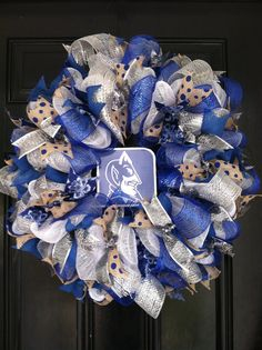 Large Mesh Ribbon Collegiate Wreath Duke by DesignTwentyNineSC, $72.50