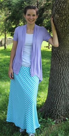 Summer Modest Mom - Striped Maxi Skirt-Modest Fashion Outfit