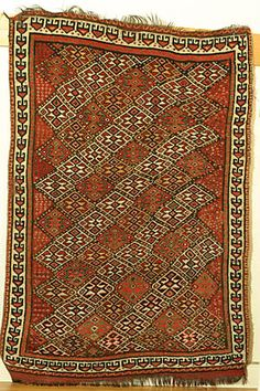 East-Persian Khorassan Kurd/Quchan rug with all-over repeat pattern.